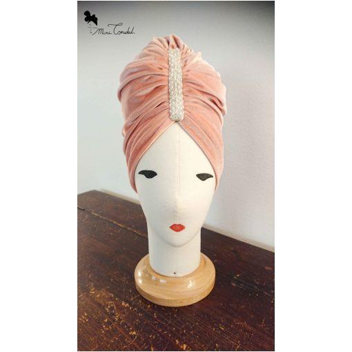 Turbante velluto rosa con perle, fronte