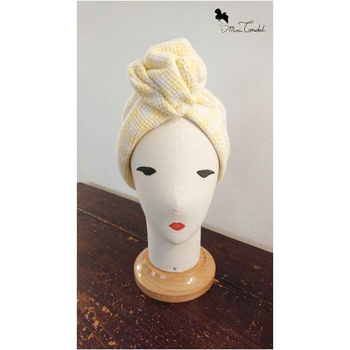 Turbante in tweed giallo con filo di ferro
