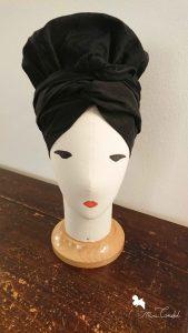 Turbante bonnet in taffetá nero