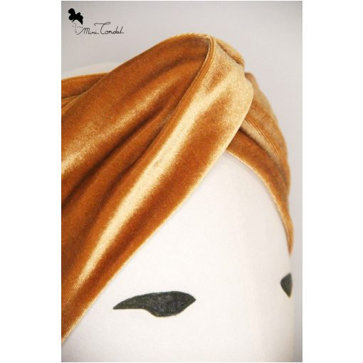 Turbante a fascia in velluto color oro