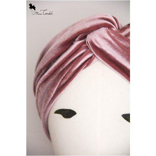 Turbante a fascia in velluto rosa antico