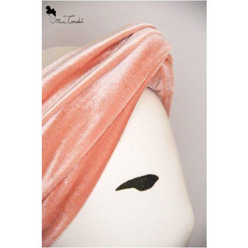 Turbante a fascia in velluto rosa salmone