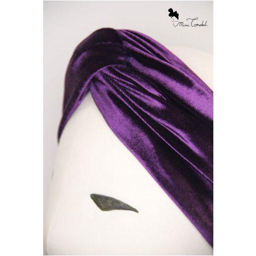 Turbante a fascia in velluto viola