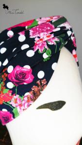 Turbante a fascia fiori e pois, dettaglio