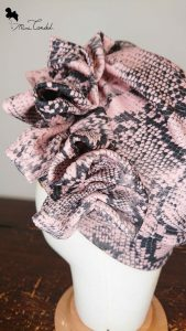 Turbante neoprene pitonato, dettaglio tessuto