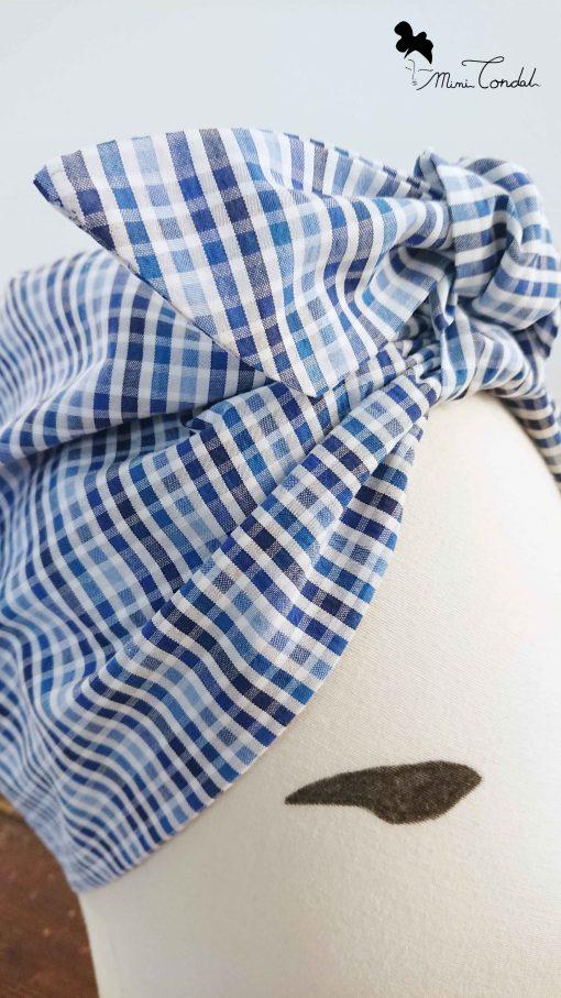 Turbante cotone a quadretti, dettaglio fiocco
