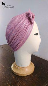 Turbante rosa pitonato, lato
